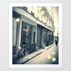 Bicycle and cobblestone Art Print