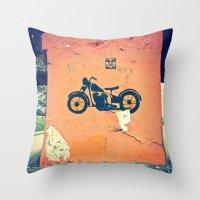 Motorcycle street art Throw Pillow