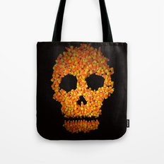 Candy Corn Skull Tote Bag