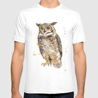 Great Horned Owl - Gertrude Mens Fitted Tee White SMALL