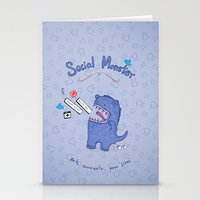 Social Monster Blue Stationery Cards