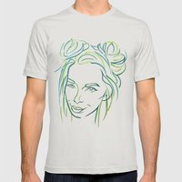 Green Portrait Mens Fitted Tee Silver SMALL