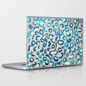 Blue Watercolor Leopard Print on Wood Laptop & iPad Skin