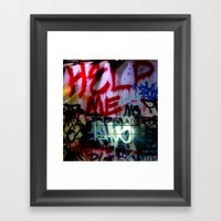 Help Me Graffitti Framed Art Print