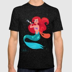 The Little Mermaid Mens Fitted Tee Tri-Black SMALL
