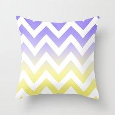 BLUE & YELLOW CHEVRON FADE Throw Pillow