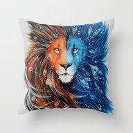 Fire And Ice Lion Throw Pillow