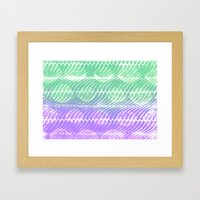 Mint And Lilac Waves Framed Art Print