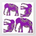 Elephants lilac Canvas Print