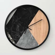 Marble and Wood Abstract Wall Clock