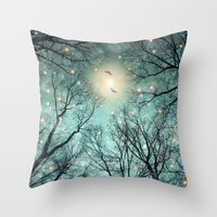Throw Pillow featuring Nature Blazes Before Your Eyes (Mint Embers) by soaring anchor designs