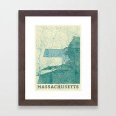 Massachusetts State Map Blue Vintage Framed Art Print