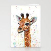 baby Stationery Cards featuring Giraffe Baby by Olechka
