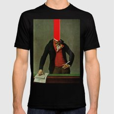 The red stripe in the head and the cigarette in the hand SMALL Black Mens Fitted Tee