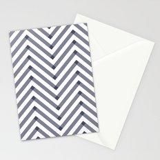 Chevron pattern - dark blue on white Stationery Cards