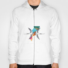 Swallows, geometric drawing Hoody