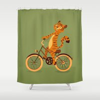 Tiger on the bike Shower Curtain