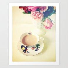 Roses and Chai Tea Art Print