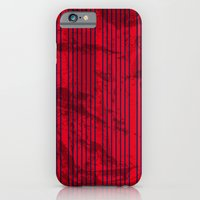 Grunge Blue stripes on bold red background illustration. iPhone 6 Slim Case