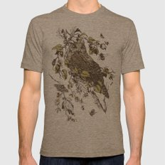 Great Horned Owl Mens Fitted Tee Tri-Coffee SMALL