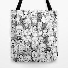 just alpacas black white Tote Bag
