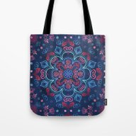 Cherry Red & Navy Blue W… Tote Bag