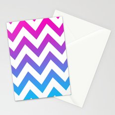 PINK & TEAL CHEVRON FADE Stationery Cards