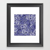 Modern navy blue indigo floral hand drawn pattern Framed Art Print