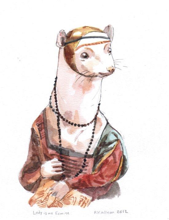 Ermine, after Leonardo da Vinci Canvas Print