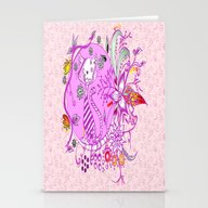 Pen And Ink Colorful Cat… Stationery Cards