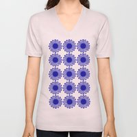 Vintage Flower Blue Unisex V-Neck