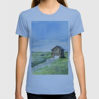 Sky and Grass Landscape Watercolor Womens Fitted Tee Athletic Blue SMALL