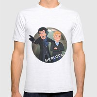 Sherlock Holmes and Watson cartoon Mens Fitted Tee Ash Grey SMALL