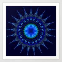 Blue kaleidoscope fractal star Art Print
