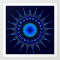 Blue Kaleidoscope Fracta… Art Print
