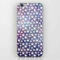 White stars on bold grunge blue background iPhone & iPod Skin