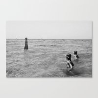 girls swimming in the sea Canvas Print