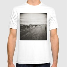 {  on the road } White Mens Fitted Tee SMALL