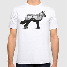 THE WOLF AND THE RABBIT Mens Fitted Tee Ash Grey SMALL