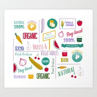 Farmers market pattern - white Art Print