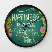 Floral Happiness Wall Clock