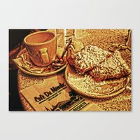 Coffee and Beignets at the Cafe du Monde Canvas Print