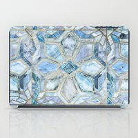 Geometric Gilded Stone Tiles in Soft Blues iPad Case