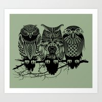 feathers Art Prints featuring Owls of the Nile by Rachel Caldwell