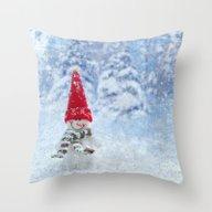 Red Cute Snowman Frozen … Throw Pillow