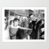 Carousel in Black and White Art Print