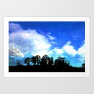 Art Print featuring Rising Moon Behind Trees by Pirmin Nohr