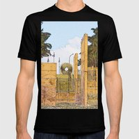 Stairs at the beach in abstract Mens Fitted Tee Black SMALL