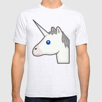 Unicorn emoji Mens Fitted Tee Ash Grey SMALL