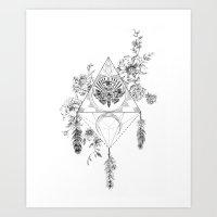 Death's Head Hawk Moth Totem Art Print